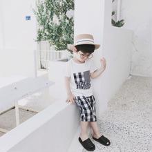 (即納♡)(kids☆)パッチワークTシャツ&ギンガムチェックパンツ2点SET