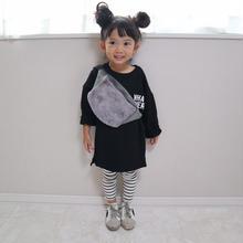 (即納♡)(kids☆)シンプルロングTシャツワンピース(ブラック)