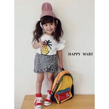 (即納♡)(kids☆)パイナップルTシャツ&ギンガムチェックパンツ2点SET(ホワイト)