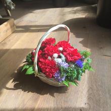 《母の日ギフト》赤いカーネーションのバスケットアレンジメント(生花)