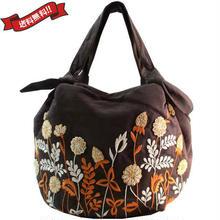 刺繍 ミニ バッグ ビターチョコ ブラウン 刺繍 フラワー かわいい 花柄 ベトナム雑貨 v1209