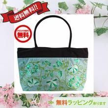 刺繍 バッグ ライトブルー 花柄 ベトナム製 ハンドメイド シルク v1054