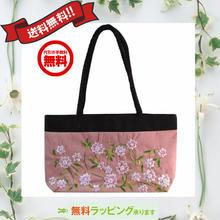 ビーズ 刺繍 バッグ サーモンピンク 花柄 ベトナム製 ハンドメイド シルク v1060