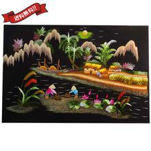 刺繍絵 アート ハンドメイド 芸術 作品 ベトナム 雑貨 働く島の女性たち vi0030