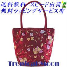 刺繍バッグ レディース ボルドー シルク 花 ベトナム 雑貨 ハンドメイド v0866