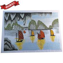 刺繍絵 アート ハンドメイド 芸術 作品 ベトナム 雑貨 世界遺産ハロン湾 vi0022