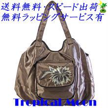 刺繍 バッグ レディース ライトブラウン フラワー シルク ハンドメイド v0925