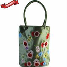 スパンコール 刺繍 シルク トートバッグ グリーン ハンドメイド v1183