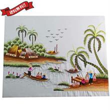 刺繍絵 アート ハンドメイド 芸術 作品 ベトナム 雑貨 働く島の女性たち vi0029