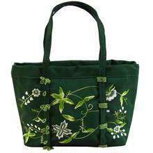 ビーズ 刺繍 ミニ バッグ グリーン シルク フラワー レディース v0871