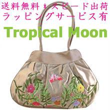 刺繍 バッグ シャンパンベージュ 花 シルク ベトナム雑貨 フレンチナッツ v0981