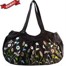 刺繍 トート バッグ ブラック 大判 ハンドメイド 花柄 送料無料 v1262