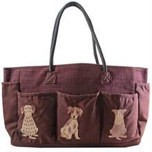 刺繍 トート バッグ レッドブラウン 大判 ハンドメイド 犬 送料無料 v1220