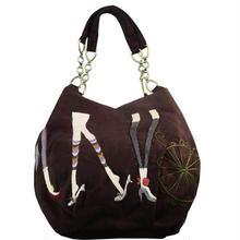 トートバッグ レディース ダークブラウン  チェーン 刺繍 ハンドメイド ベトナム雑貨 v1194