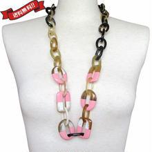 ネックレス  ロング ピンク バッファローホーン 水牛の角 漆 ラッカー ハンドメイド va0143