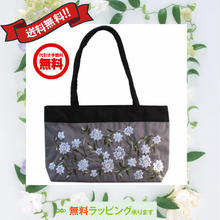 ビーズ 刺繍 バッグ ブラウングレー 花柄 ベトナム製 ハンドメイド シルク v1059