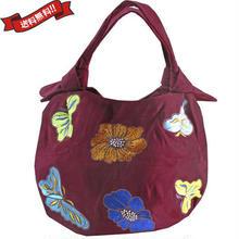 刺繍 ミニ バッグ ワイン レッド 刺繍 フラワー バタフライ 花柄 ベトナム雑貨 v1158