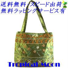 ビーズ刺繍 バッグ レディース ライムグリーン シルク ハンドメイド v0862