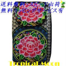ウォレット 花 刺繍 ベトナム 雑貨 2way スマートフォンケースつき v0953