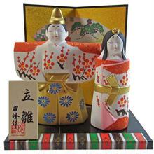 ミニ ひな飾り 立雛 おひなさま 陶器 ハンドメイド i0241