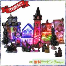 クリスマス 飾り LED ライトハウスオブジェ 置物 ジオラマ i0294