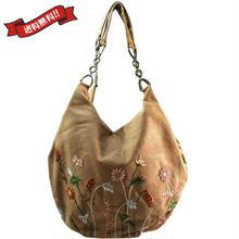 刺繍 ショルダー バッグ キャメル ベトナム 雑貨 ハンドメイド 花柄 フラワー v1199