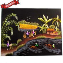 刺繍絵 アート ハンドメイド 芸術 作品 ベトナム 雑貨 働く島の女性たち vi0031