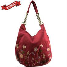 刺繍 ショルダー バッグ レッド ベトナム 雑貨 ハンドメイド 花柄 フラワー v1198