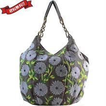 トートバッグ レディース ブ グレー 刺繍 花柄 デイジー ハンドメイド ベトナム雑貨 v1230