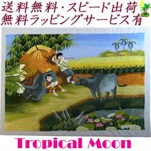 刺繍絵 アート ハンドメイド 芸術 作品 ベトナム 雑貨 水牛と兄弟 vi0008