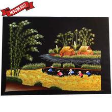刺繍絵 アート ハンドメイド 芸術 作品 ベトナム 雑貨 稲刈りをする女性たち vi0032
