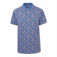 プリティーグリーン SS GRETTON ペイズリー ポロシャツ(ブルー)