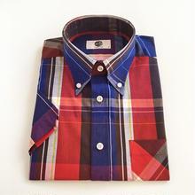 ART GALLERY S/S ボタンダウンシャツ〈ブルー/レッド〉