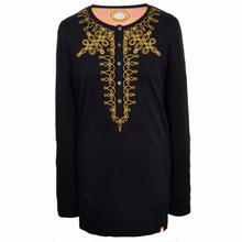 プリティーグリーンHR LS MILITARYエンブロイドヘンリーネックTシャツ(ブラック)