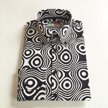 MADCAPオプアートボタンダウンシャツ<ブラック&ホワイト〉