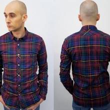 ネバートラスト Check Short Round Coller L/S Shirt