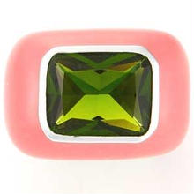 Enamel ring pink x green