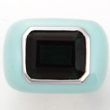 Enamel ring right blue x green