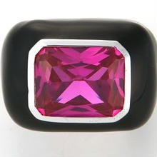 Enamel ring black x pink
