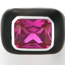 Enamel ring black x pink