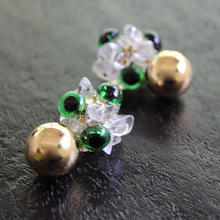Ciita--Monstre Earrings Green x Gold