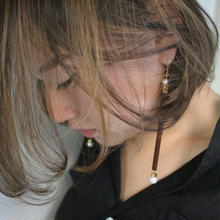 Ciita--Glass Tube Earrings Brown