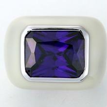 Enamel ring white x blue