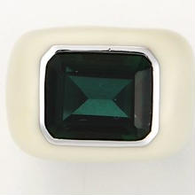 Enamel ring white x green