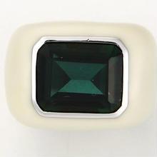 Enamel ring white x green