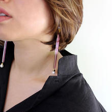 Ciita--Glass Tube Earrings Purple