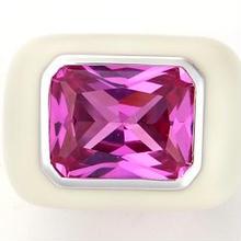Enamel ring white x pink