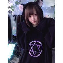 オーロラ魔法陣黒猫パーカー/HOMELESSPARTY.