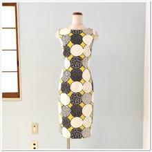 9号 黄色×白黒ドットタイトワンピース