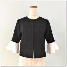 黒ジャカード調ストレッチ×白ストレッチフリル袖 ジャケット
